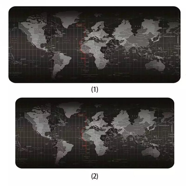 Hot oversized world map mouse pad game non slip natural rubber mat with lock