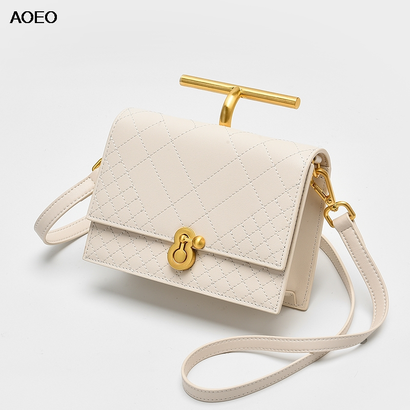 AOEO Luxury Handbags Women Shoulder Bags Designer Plaid Split Leather Fashion Summer Ladies Small Bags Lady
