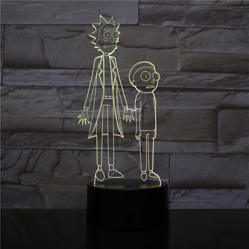 Rick and Morty 3D Table Lamp Bedroom USB Touch Sensor RGB Decoration Nightlight Child Kids Gift Cartoon LED Night Light Gadget