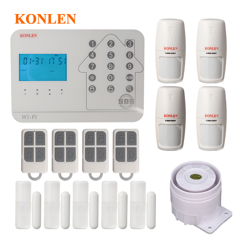 US $58.33 26% OFF|Konlen WIFI GSM PSTN Smart Home Security Alarm System on