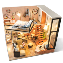 CUTEBEE DIY Doll House Wooden Doll Houses Miniature dollhouse Furniture Kit Toys for children Christmas Gift TD16