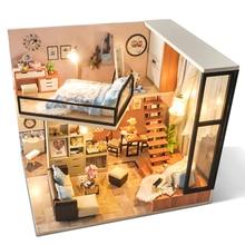 цена на CUTEBEE DIY Doll House Wooden Doll Houses Miniature dollhouse Furniture Kit Toys for children Christmas Gift TD16