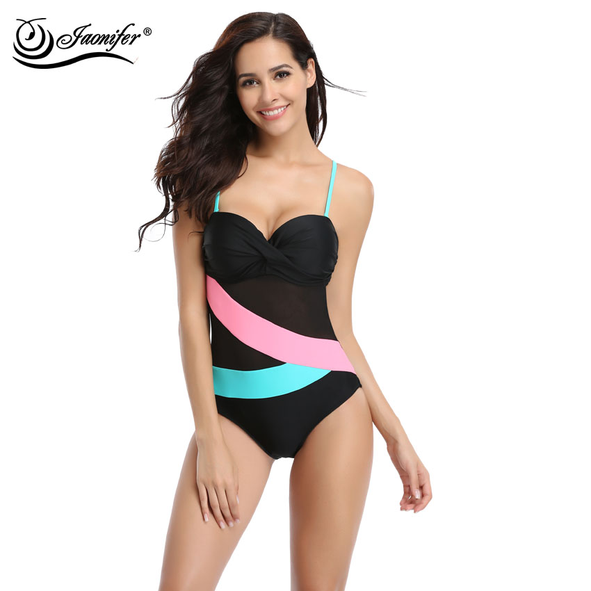 cbfc3b5218bb6 JAONIFER Mesh Staggered One Piece Swimwear Women Patchwork Swimsuit Ladies  Bathing Swimming Suit Beachwear Bodysuit -in Body Suits from Sports ...