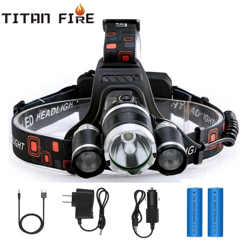 Rechargeable High Lumens LED Headlamp LED Headlight Flashlight Waterproof  4 Lighting Modes Use Fishing Camping Night Cycling