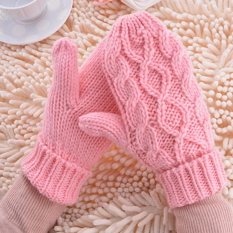 MwOiiOwM Free Shipping Warm Winter Gloves Women Mittens 8 Color Woman Ladies Lovely Knitted Gloves Girls Gift 24