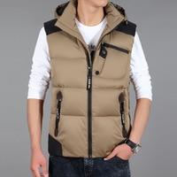 Men S Sleeveless Vests Jackets 2017 New Winter Men Duck Down Hooded Vest Fashion Male Warm