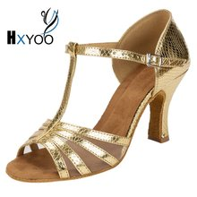 HXYOO 2017 New Arrived Salsa Dance Shoes Ballroom Shoes Women Latin Tango Gold Silver Professional Mesh Soft Sole WK032