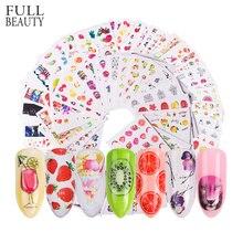 58 adet/takım karışık renkli tırnak Sticker moda meyve/kek/çiçek su transferi sarar İpuçları tırnak dekor manikür aracı CHSTZ455 512