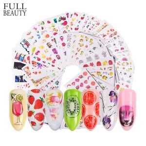 Image 1 - 58 stks/set Gemengde Kleurrijke Nail Sticker Fashion Fruit/Cake/Bloem Water Transfer Wraps Tips Nail Decor Manicure Tool CHSTZ455 512