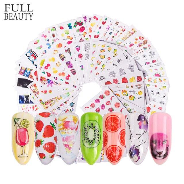 58 stks/set Gemengde Kleurrijke Nail Sticker Fashion Fruit/Cake/Bloem Water Transfer Wraps Tips Nail Decor Manicure Tool CHSTZ455 512