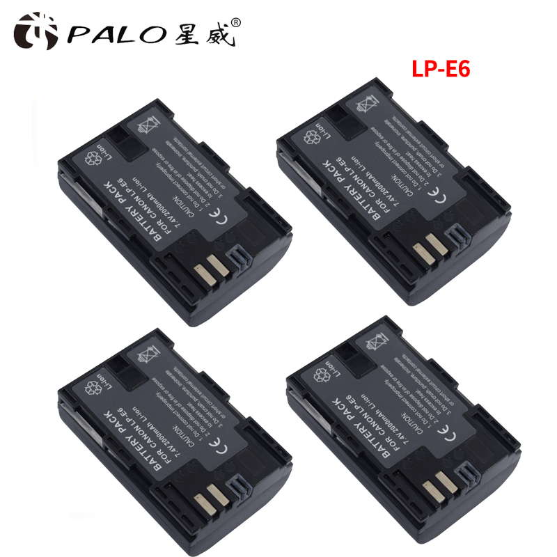PALO 4PCS 2000mAh LP-E6 LP E6 LP-E6N Camera Battery For Canon EOS 5DS 5D Mark II Mark III 6D 7D 60D 60Da 70D 80D DSLR EOS 5DSR