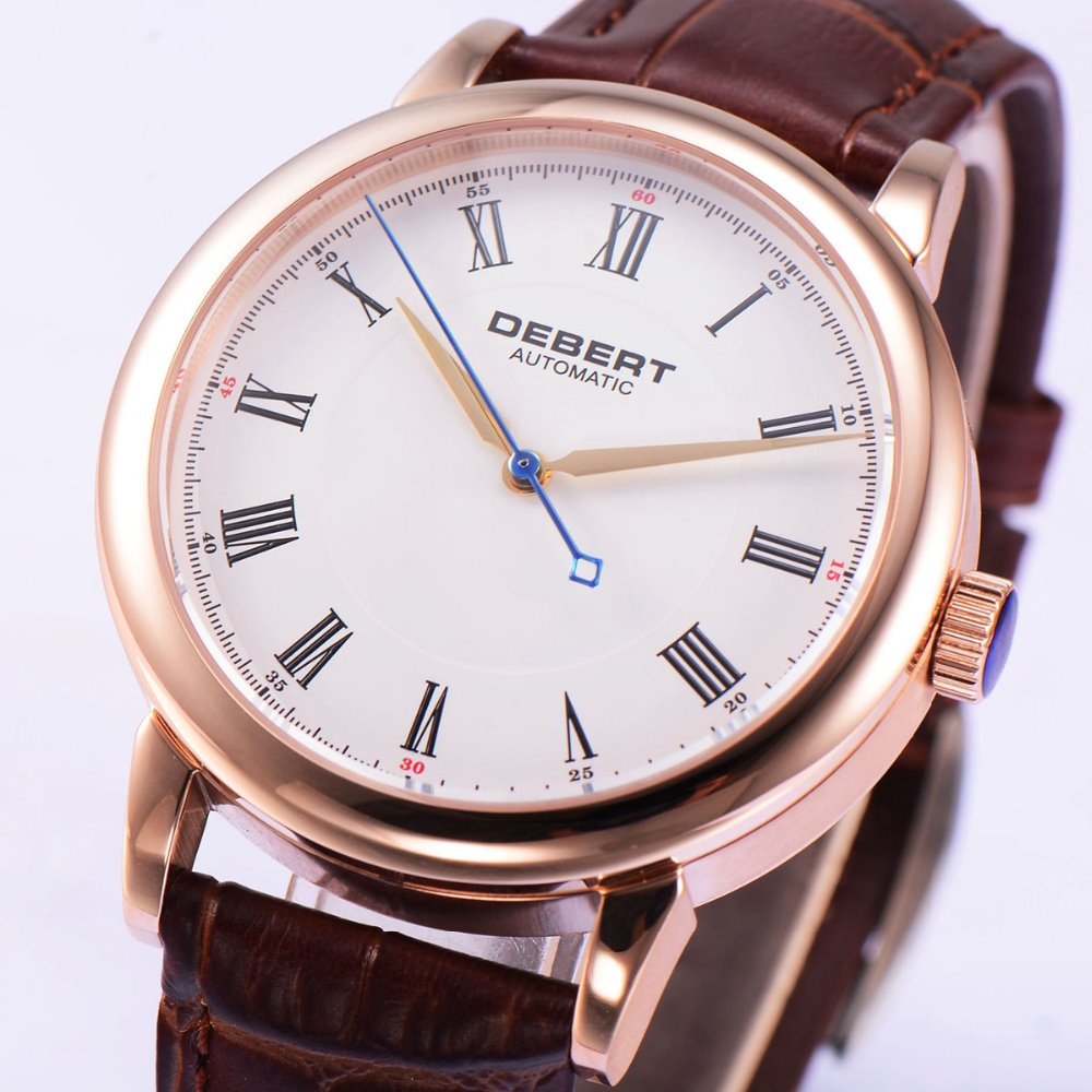 40mm Debert white dial rose glod case miyota 821A Automatic mens Watch debert 45mm white dial miyota 821a movement automatic date day mens watch