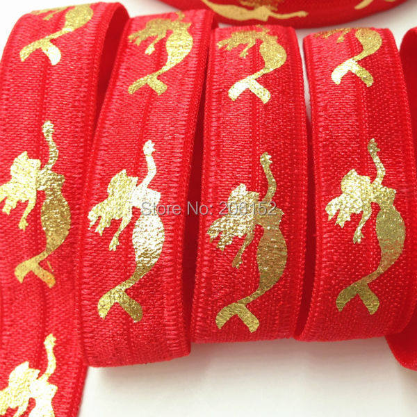 Gold Foil Mermaid Red Fold Over Elastic 5/8 Mermaid Printed FOE Elastic Ribbon for DIY Headwear Hair Accessories 10Y/lot