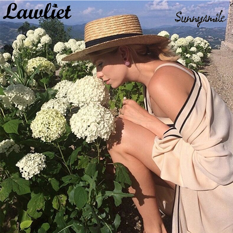 Women Wide Brim Summer Beach Hats Natural Straw Boater Hats Flat Top Sun Hats Dress Cap Fashion Show Chapeau Feminino Sun Cap