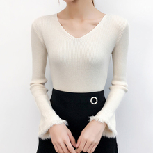 Shintimes V-Neck Pullovers Tassel Flare Sleeve Sweater Women Pull Hiver Femme 2018 Winter Clothes Knitting Korean Sueter Mujer
