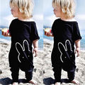 Newborn Kids Baby Boy Girl Cotton Rabbit Quoted Romper Jumpsuit Bodysuit Overralls Wholesale