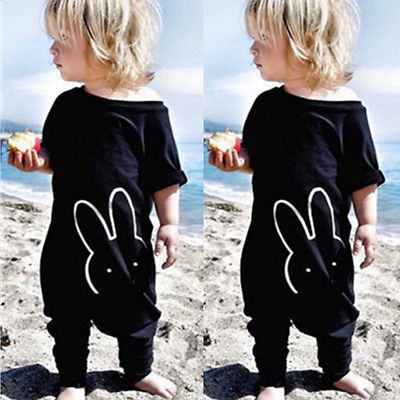 Newborn Kids font b Baby b font Boy Girl Cotton Rabbit Quoted Romper Jumpsuit Bodysuit Overralls
