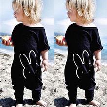 Newborn Kids Baby Boy Girl Cotton Rabbit Quoted Romper Jumpsuit Bodysuit Overralls Wholesale