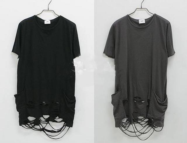 Diseñador de moda Marca ripped Apenada Hombre Camiseta Camisetas Camisas Slim Fit swag streetwear pyrex hip hop skateboard streetwear XXXL