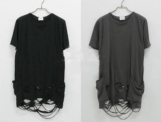 b5065b7022ca Fashion Designer Brand ripped Distressed Man Tee T Shirts Slim Fit swag  streetwear pyrex hip hop