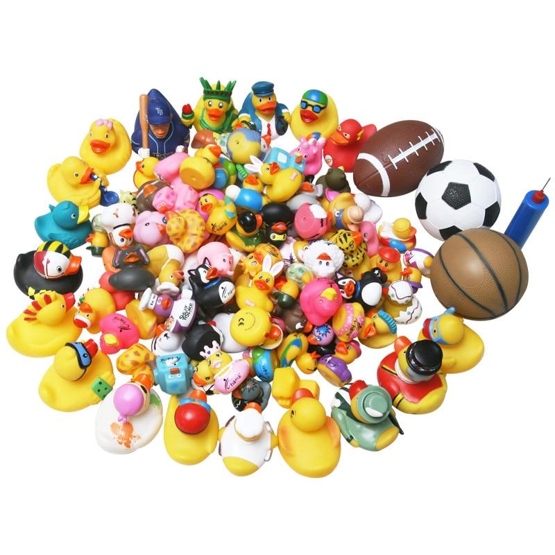 50pcs Classic Rubber Ducklings Bathroom Pinch Bathing Water Mini Yellow Duck Baby Bath Floating Toys
