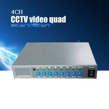 Rozgałęźnik wideo YiiSPO 4CH wysokowydajny procesor wideo 4ch CCTV Quad z wyjściem VGA/BNC i pilotem