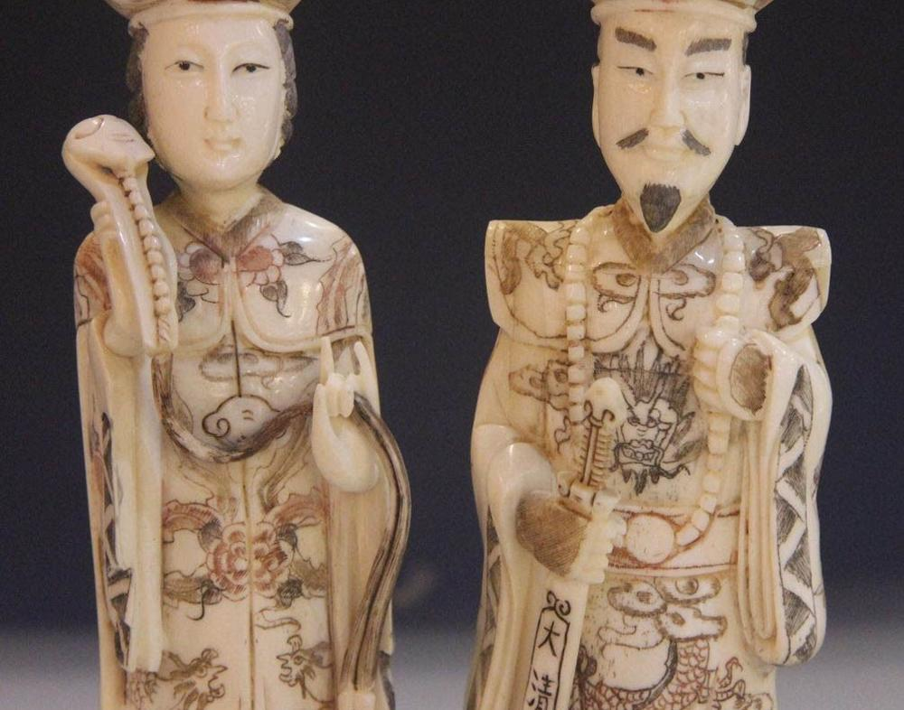 China Dynasty Cattle Bone Handmade Carved Dragon Phoenix Emperor Empress Statue Statue Statue Dragonstatue China Aliexpress
