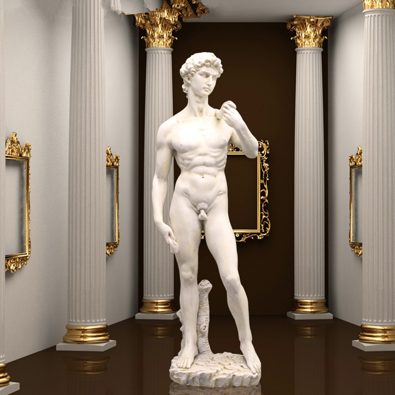 Art Sculpture Resin David Full-Length Portrait Statue Michelangelo Buonarroti Home Decorations 41.5cm R910