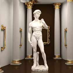 Kunst Skulptur Harz David Voll-Länge Porträt Statue Michelangelo Buonarroti Home Dekorationen 41,5 cm R910