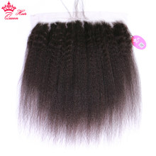 Queen Hair Products Pre Plucked Brazilian Kinky Straight Lace Frontal Closure With Baby Hair Virgin Human Hair Natural Hairline(China)