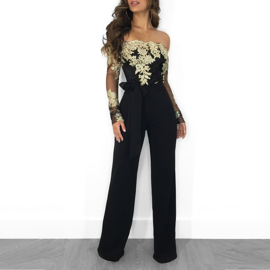 Women Mesh Patchwork Embroidery Sexy Party Jumpsuit Long Sleeve Slash Neck Wide Leg Jumpsuit Elegant Long Bodysuit