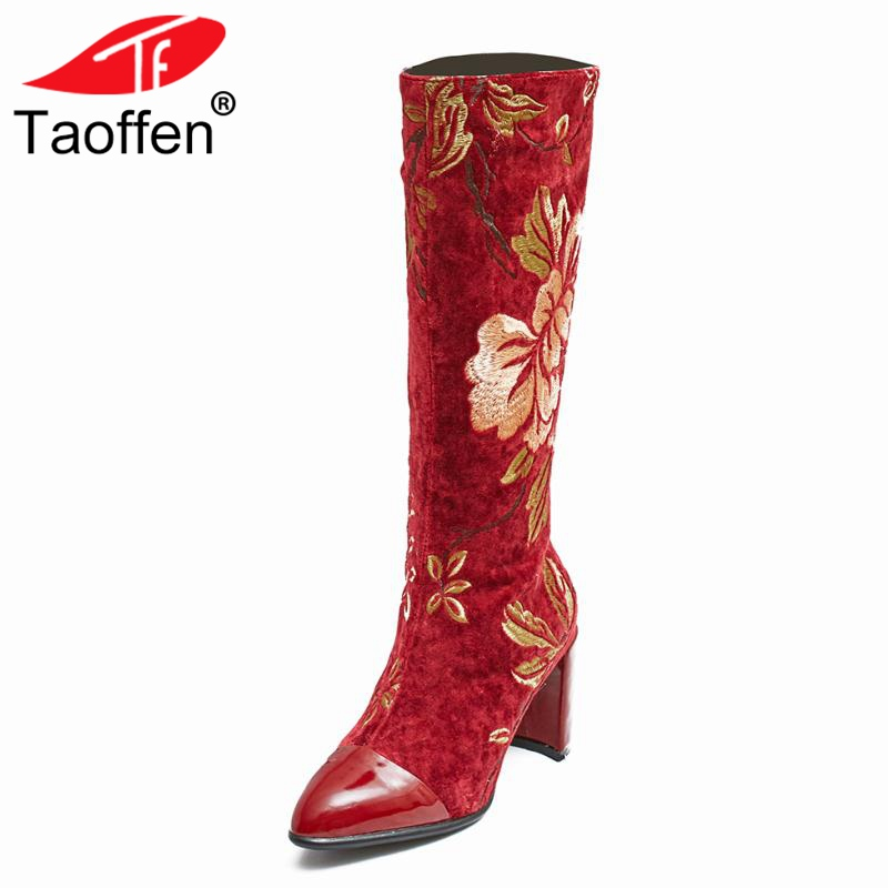 Taoffen Women Winter Knee High Boots Genuine Leather Shoes Women Warm Fur Thick Heel Boots Embroidery Zipper Shoes Size 33-43 free shipping 2013 genuine leather high heel casual cotton padded shoes plus size 40 43 boots thick heel women s boots z476