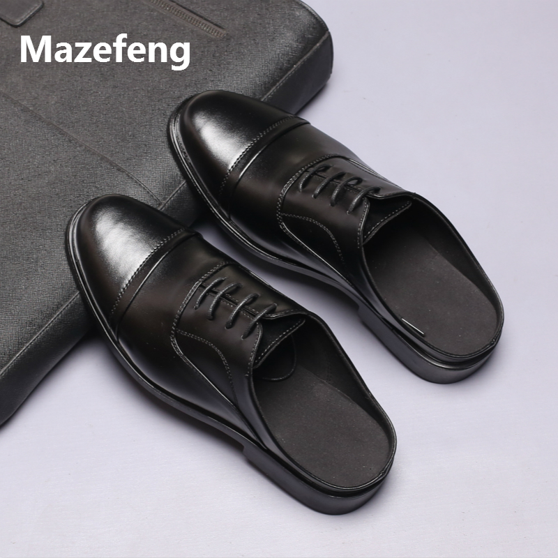Mazefeng Men Fashional Male Shoes Summer Slippers Men Slippers Simple Casual Slippers Solid Outdoor Leather Slippers Round Toe