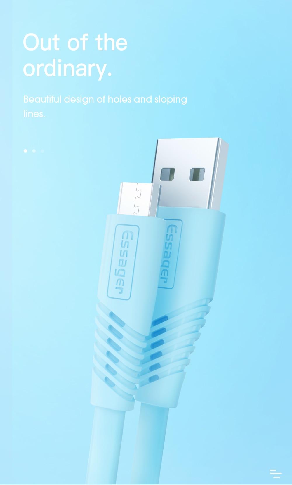 Essager Micro USB laddare platt kabel för Samsung Huawei Xiaomi 1M 2M Datasynkabeln 2,4A snabb laddning Mobiltelefonkablar