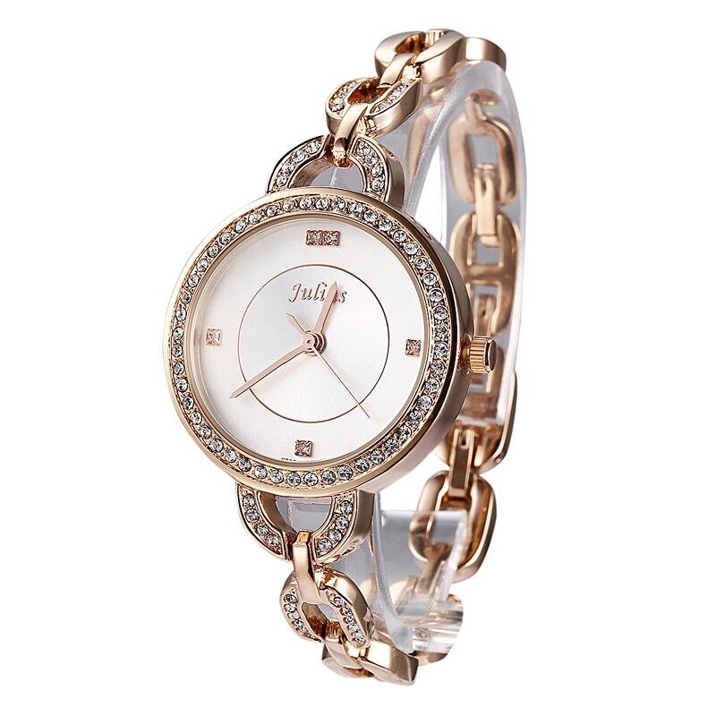 Top Women s Lady Wrist Watch Julius Quartz Hours New Fashion Dress Chain Bracelet Rhinestone Girl