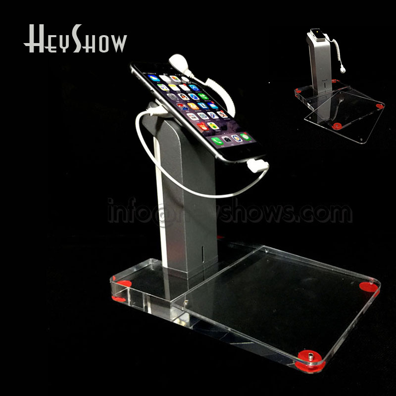 где купить 10x Mobile Phone Security Display Stand Iphone Anti Theft Holder With Acrylic Price Tag Holder Burglar Alarm For Apple Mi Huawei дешево