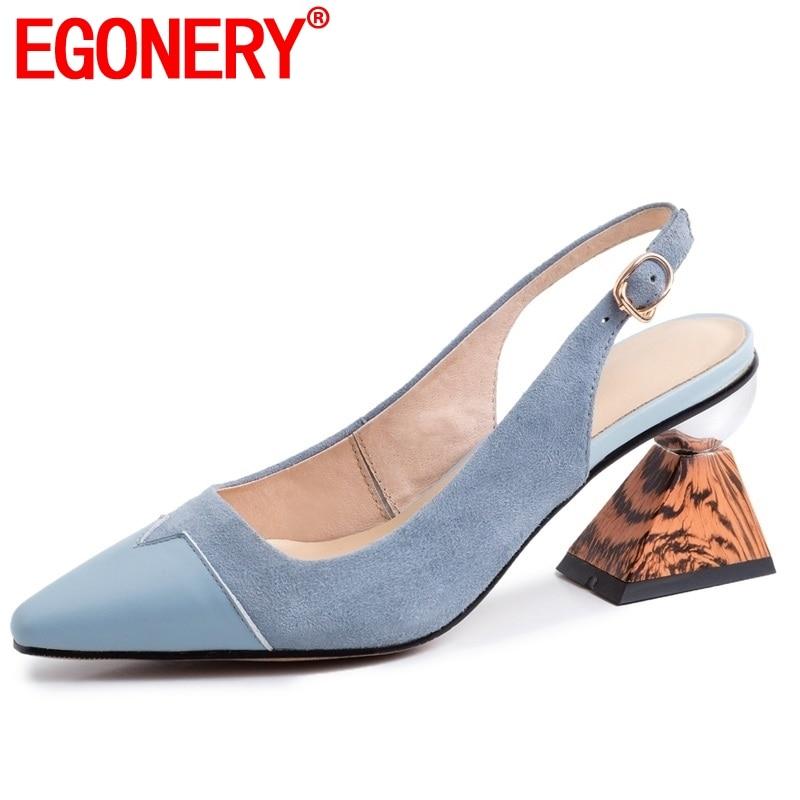 EGONERY مكتب العمل الغنم نعل امرأة أحذية خفيفة مضخات الصيف الأزياء بقرة حقيقية الجلود واشار تو الكعوب العالية أحذية-في أحذية نسائية من أحذية على  مجموعة 1