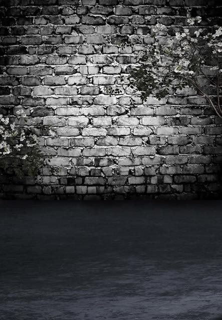 8x12ft Dim Grau Ziegel Wand Dunklen Raum Weiß Blumen Zweig