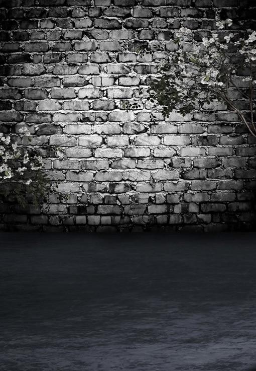 8x12FT Dim Grey Bricks Wall Dark Room White Flowers Branch Custom Photography Studio Backdrops Backgrounds Vinyl 8x10 8x15 10x20 In Background From Consumer