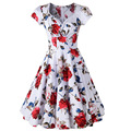 Sexy Audrey Hepburn Retro Rockabilly Dress 2016 Swing Dress 60s Floral Print Pin up Vestidos Women Summer 50s Vintage Dresses