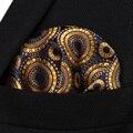 HF804D Золото Темно-Синий Цветочные Мужчины Шелковый Партия Платок Карманный Площадь Ханки