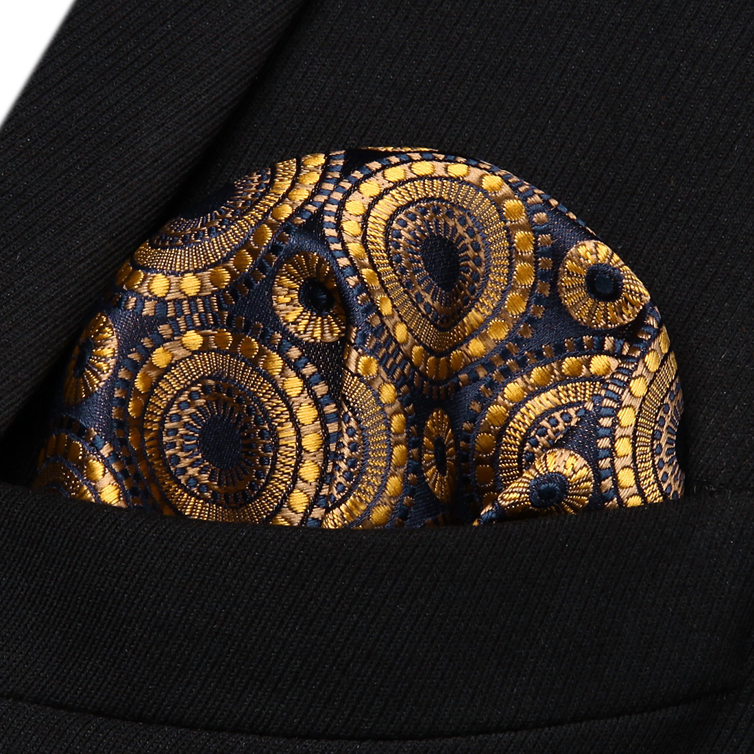 HF804D Gold Navy Blue Floral Men Silk Party Handkerchief Pocket Square Hanky