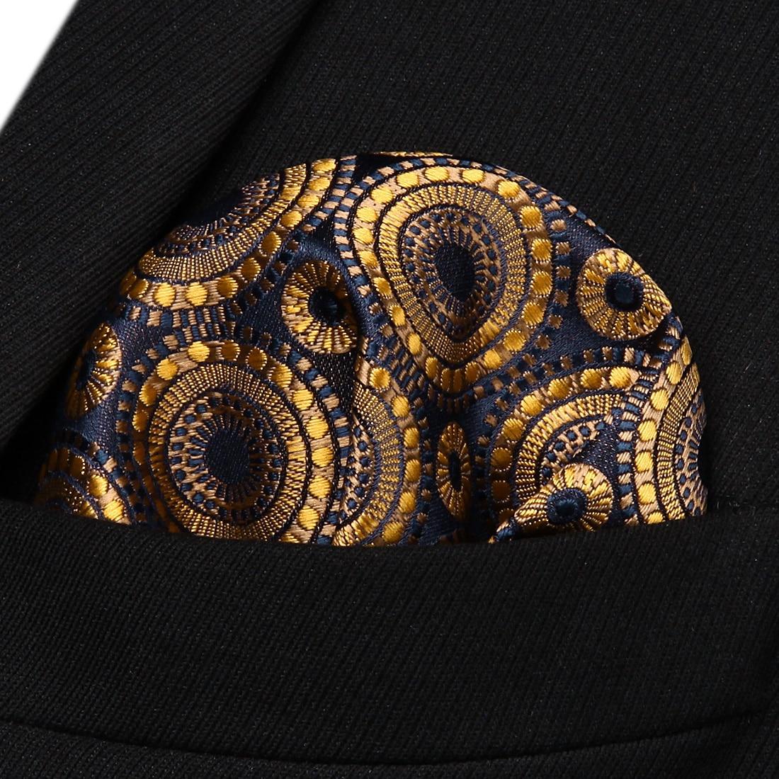 HF804D Gold Navy Blue Floral Men Silk Party Handkerchief Pocket Square Hanky