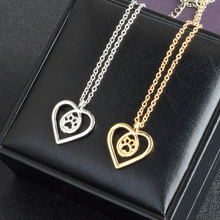 Dog's Paw Love Heart pendant necklace / 2 Colors