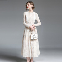 High Quality 2019 Spring New Runway Maxi Dresses Slim Office Party Women's Cute Vintage Casual Lace Dress