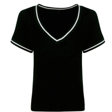 Casual Cotton V-neck Striped Female Summer T-shirt