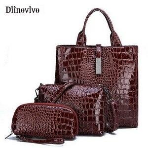Image 1 - DIINOVIVO Neue Mode Leder Taschen 3 Set Frauen Handtasche Luxus Große Kapazität Tote Bag Geldbörsen und Handtaschen Großhandel WHDV0892