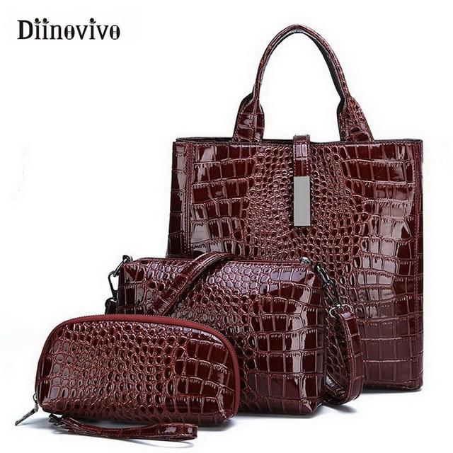 DIINOVIVO Neue Mode Leder Taschen 3 Set Frauen Handtasche Luxus Große Kapazität Tote Bag Geldbörsen und Handtaschen Großhandel WHDV0892