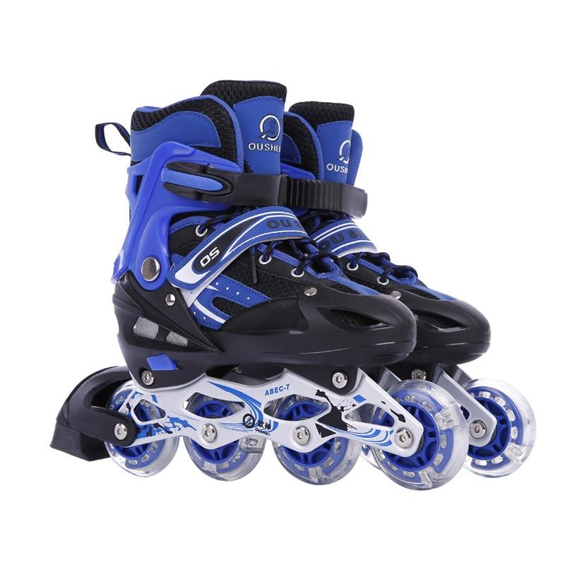 цена  1 Pair Adult Children Ice Skate Roller Skating Shoes  Adjustable Washable Flash wheels  онлайн в 2017 году