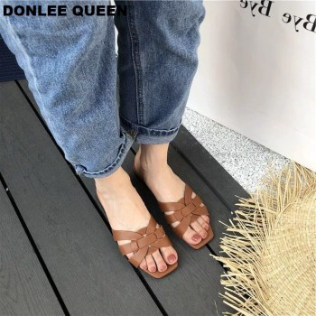 DONLEE QUEEN Women Brand Slippers Summer Slides Open Toe Flat Casual Shoes Leisure Sandal Female Beach Flip Flops Big Size 41 2